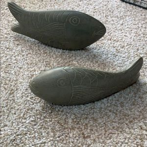 2 Hand Carved Stone Fishes